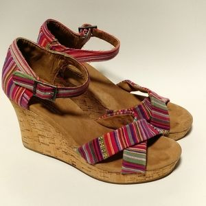 Toms cork wedge multi colored sandals